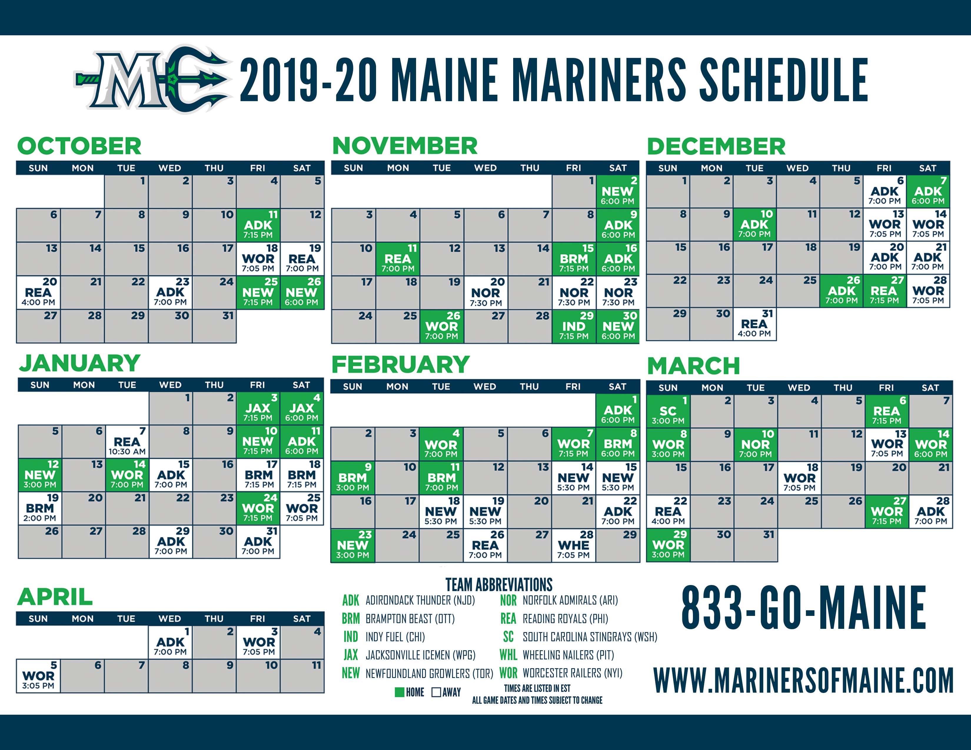 Mariners 2020 Schedule MARINERS ANNOUNCE FULL 2019 20 SCHEDULE   Maine Mariners
